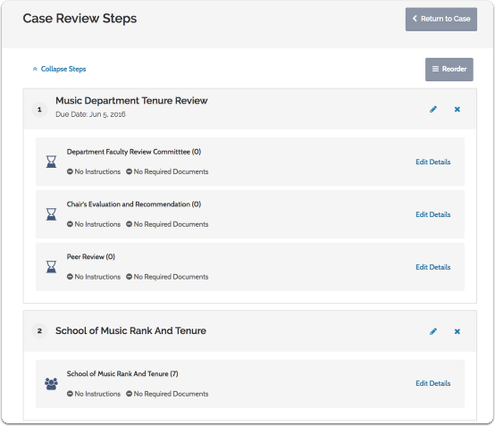 You will see the list of current case review steps for the case