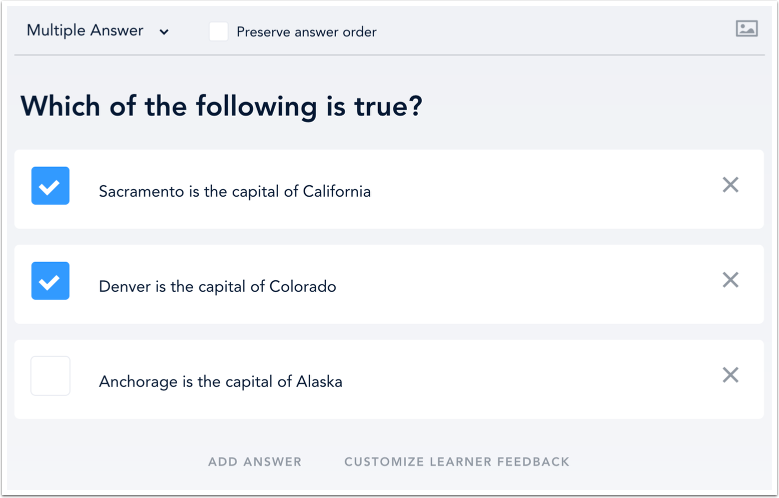 Multiple Answer Quiz