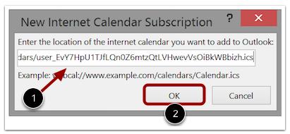 Pegar enlace del feed del calendario