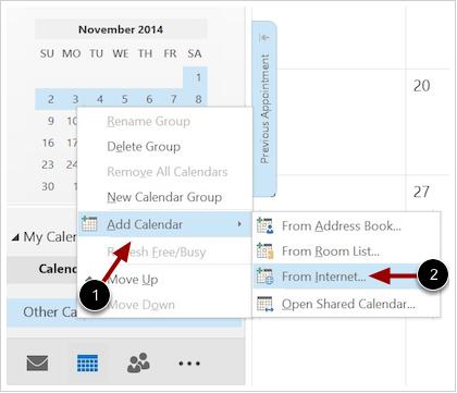 Agregar calendario desde internet