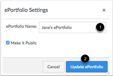 Actualizar ePortfolio