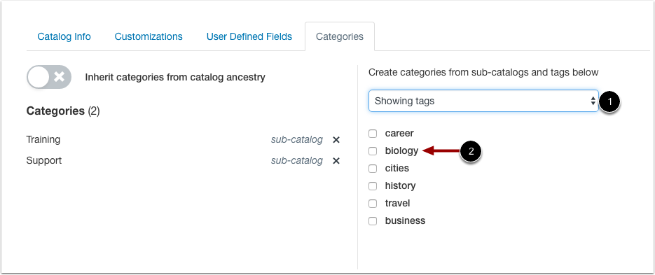 Select Tag Categories