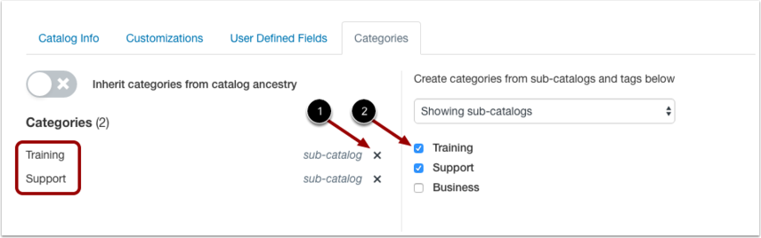 View Subcatalog Categories