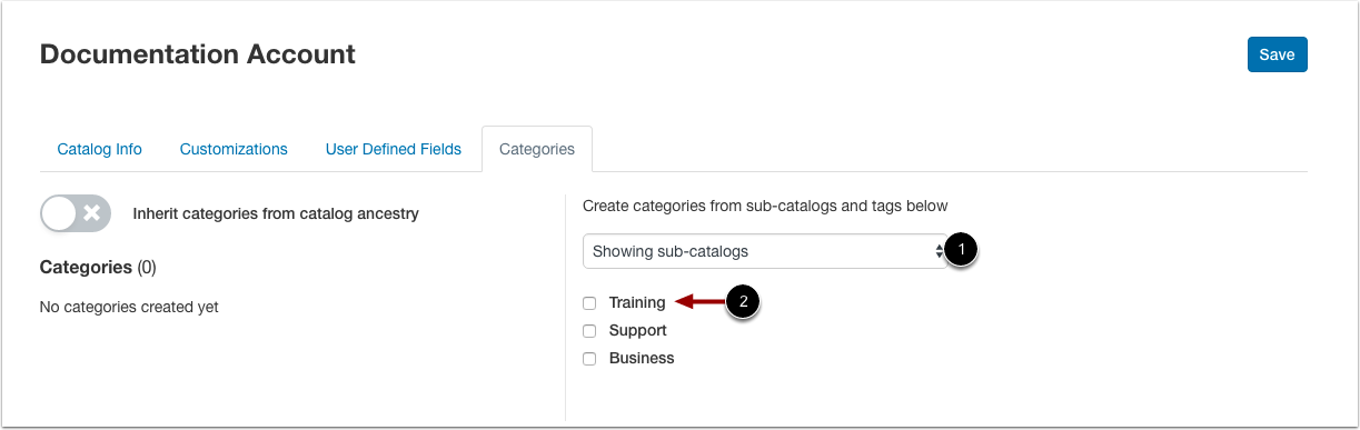 Select Subcatalog Categories
