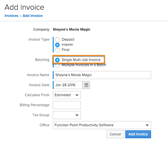 invoices common terms function point