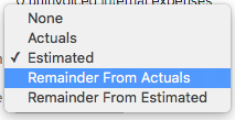 Why would you choose Remainder from Actuals?