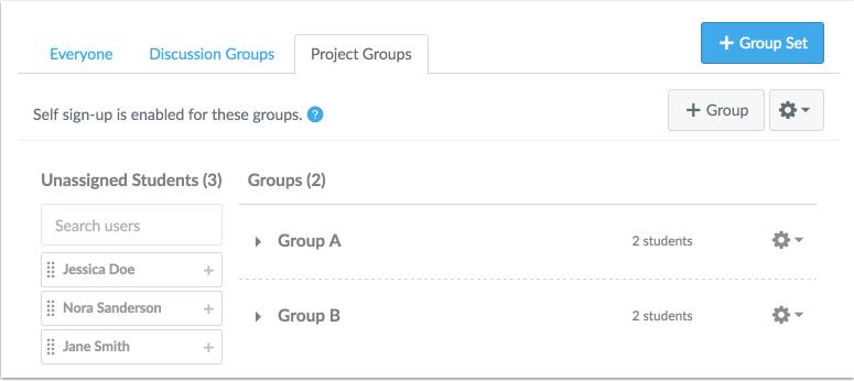 Vista de la gestión de los grupos del instructor