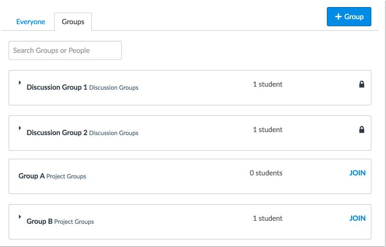 Vista de la gestión de los grupos del estudiante