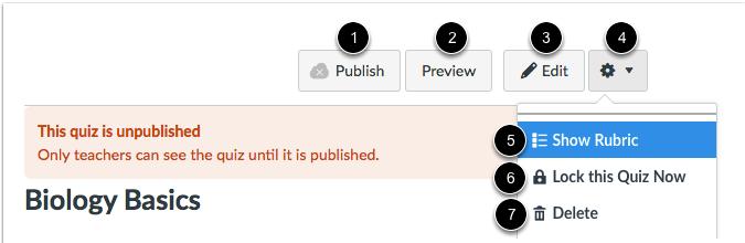 Opciones de una evaluación no publicada