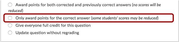 Otorgar puntos por pregunta correcta