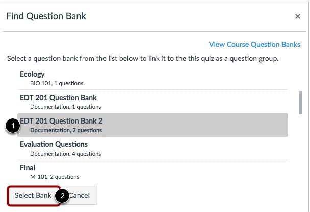 Encontrar banco de preguntas