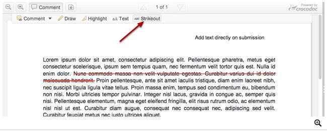 Usar la herramienta para tachar el texto