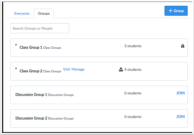 Visualização de Gerenciamento de Grupos para Estudante