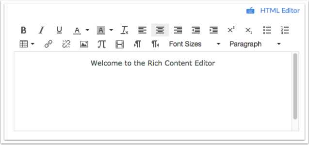 Öppna Rich Content Editor