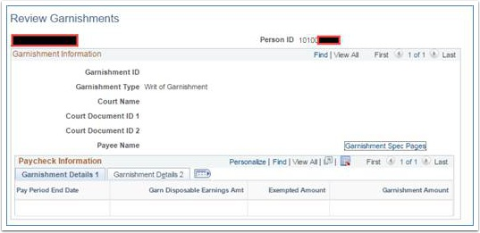 Review Garnishment page