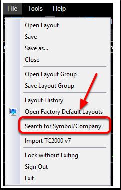 2. Click Search for Symbol/Company.