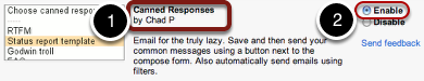 "Select ""Enable"" for the ""Canned Responses"" lab."