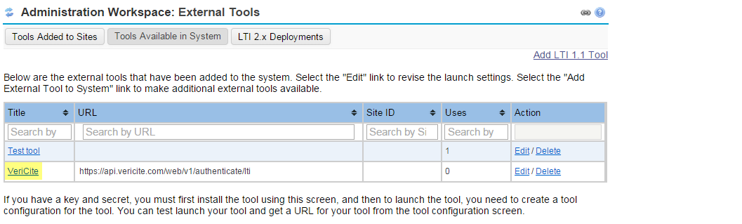 You will now see the VeriCite LTI tool listed as one of the tools available in the system.
