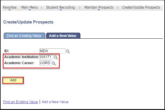 Create/Update Prospects Add button