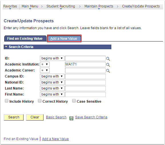 Create/Update Prospects Add a New Value Tab
