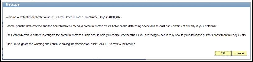 Duplicate Warning Message