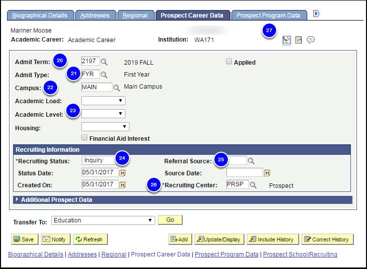 Prospect Career Data tab