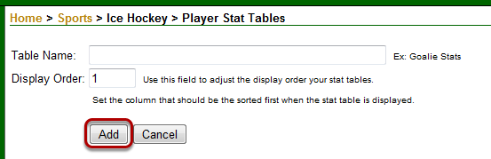 Player Stat Tables - Create Stat Table
