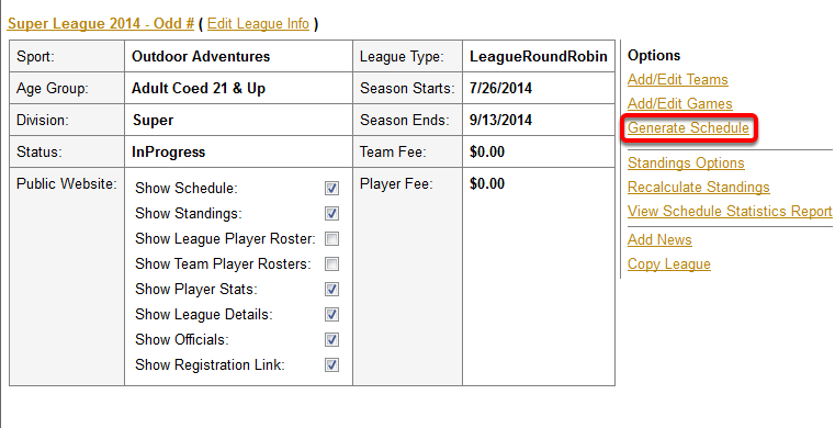 how to generate a league schedule odd number of teams bye