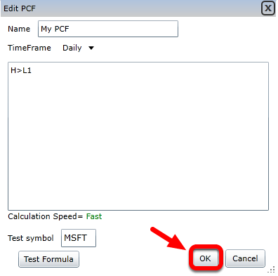 6. Click OK to save the PCF and open targeting mode.