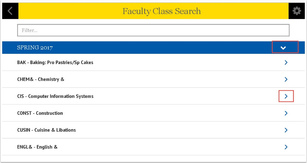 Faculty Class Search page