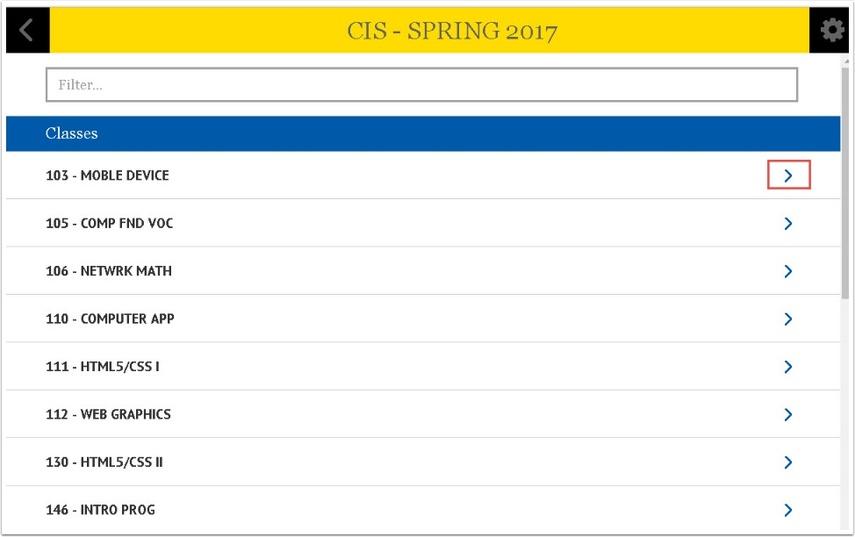 CIS - Spring 2017 Class numbr page