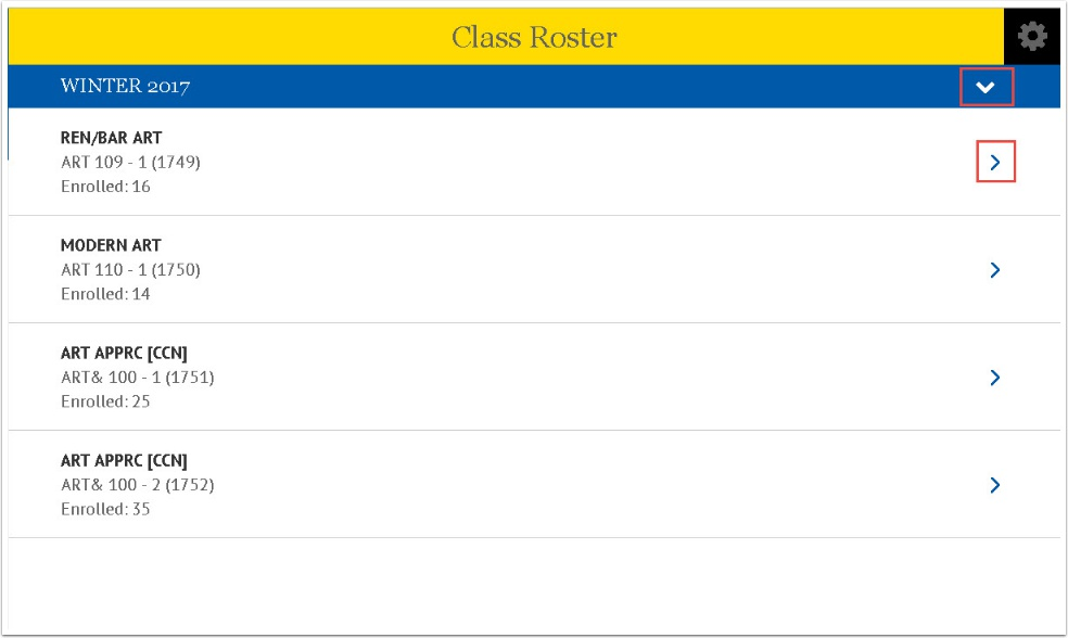 Class Roster page - Term selection
