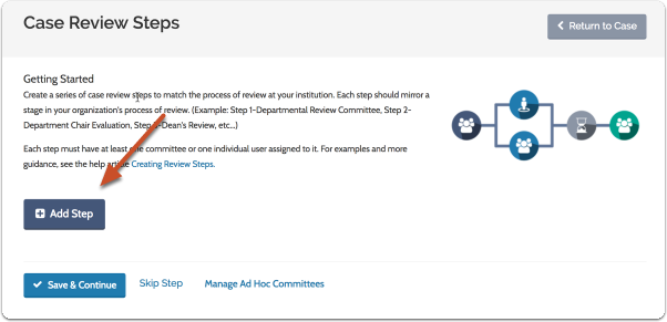"Click ""Add New Step"" to begin setting up the workflow of case review steps for the case"