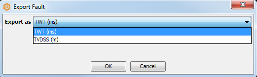 Select time/depth domain for fault export