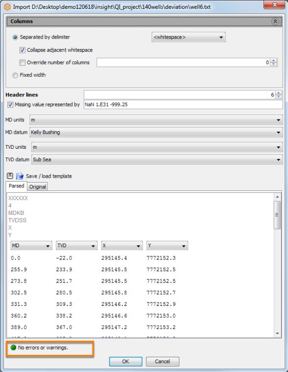 Configure import parameters for deviation file