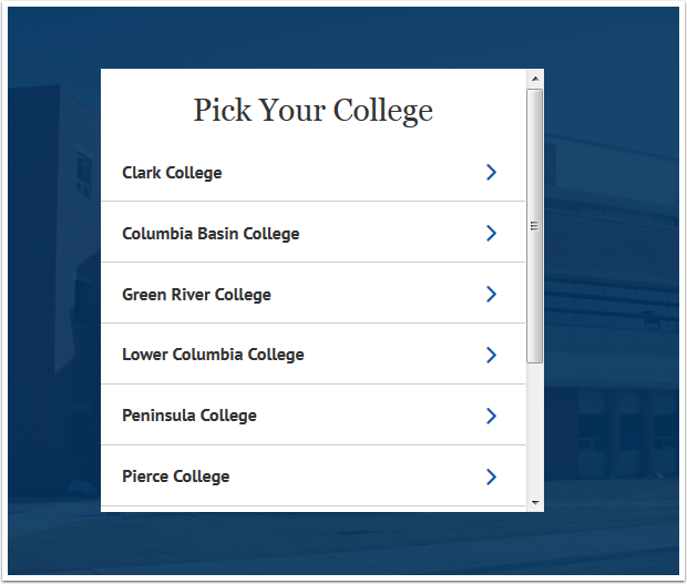 Pick Your College screen