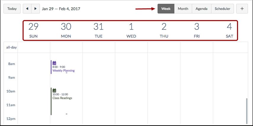 Vis kalenderen ut fra uke