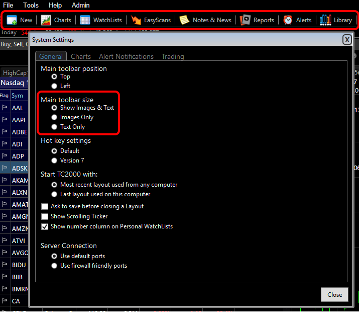 """3. In the System Settings window, under the General tab the Main toolbar size defaults to """"Show Images &Text""""."""