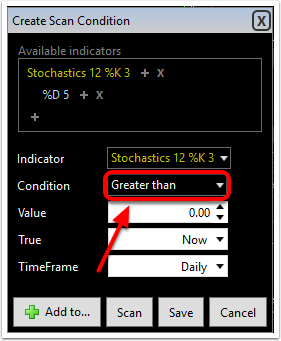 3.  In the Create Scan Condition window change Greater than to Crossing up Value.