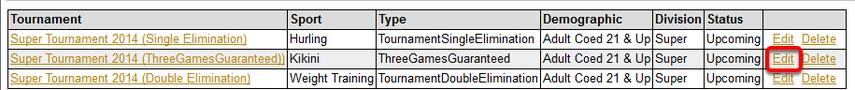 Edit Tournament
