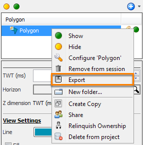 Select a polygon for export