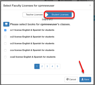 Select eBooks that allows the teacher to be a license provider of student eBooks.