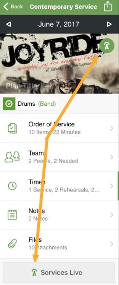 Live button in mobile app