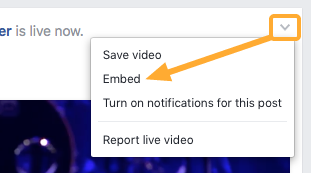 Facebook Live: Copy your embed code
