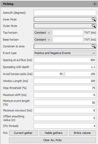 Define settings for full volume non-parabolic RMO picking