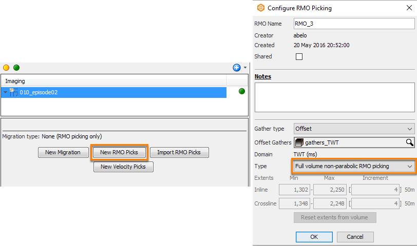 Configure full volume non-parabolic RMO Picking