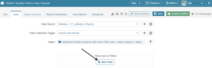 Adding QlikView Filters to Metric Insights