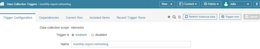 Access a Data Collection Trigger Editor
