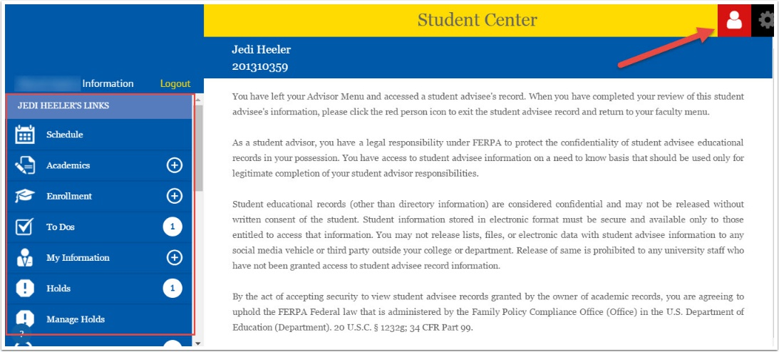 Student Center FERPA Statement example