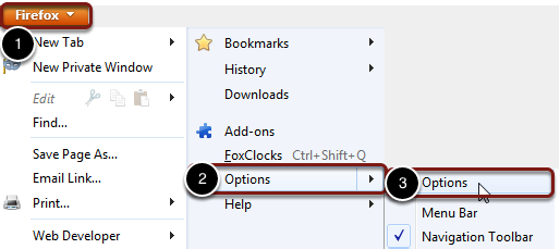 In the top left corner of your Firefox browser, click the Firefox menu button. Then choose options.